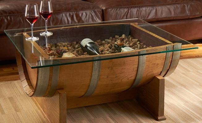 10 ideas originales para reciclar barricas - Mesa centro de cristal ...