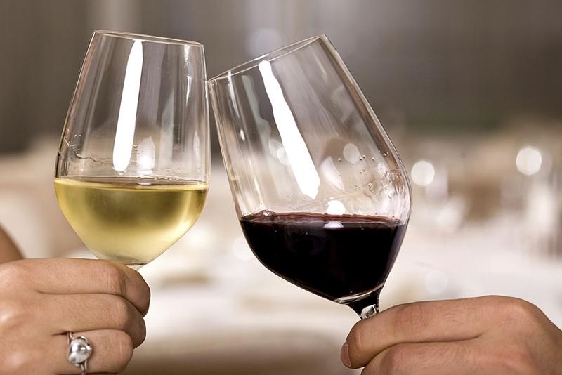 Dos copas de vino, una de vino blanco, la otra de vino tinto