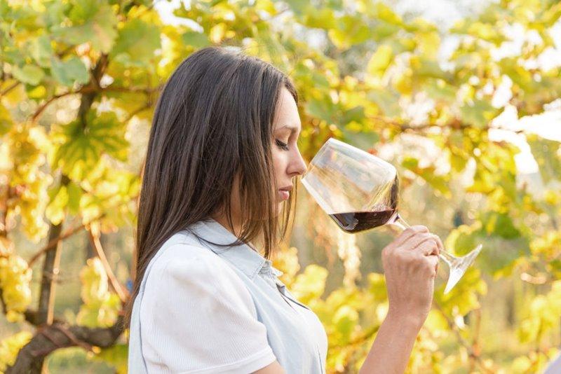 Una chica catando vino en fase olfativa