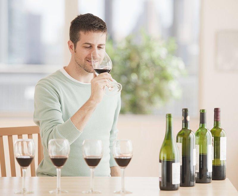 Un chico catando vino en fase olfativa