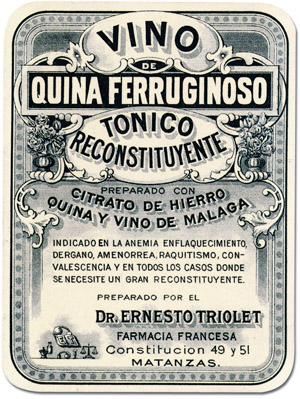 etiqueta del vino medicamento en base a vino de Málaga